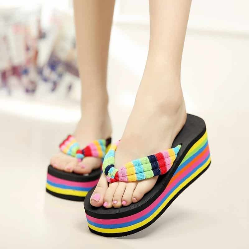 New-2016-mixed-Colors-Women-Summer-Flip-Flops-Girls-Slippers-high-heels-Women-Shoes-wedges-sandals Funky Slippers For Girls-These 30 Coolest Slippers you Must Try