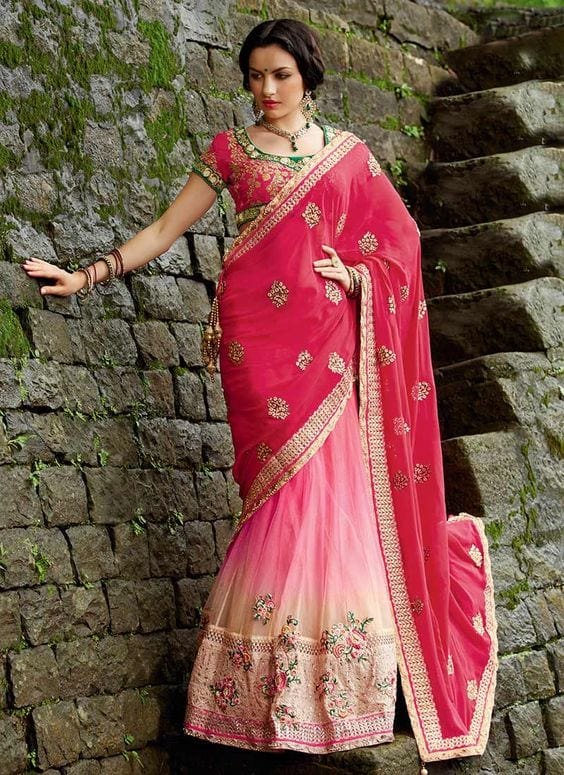 Pink Latest Bridesmaid Saree Designs-20 New Styles to try in 2019