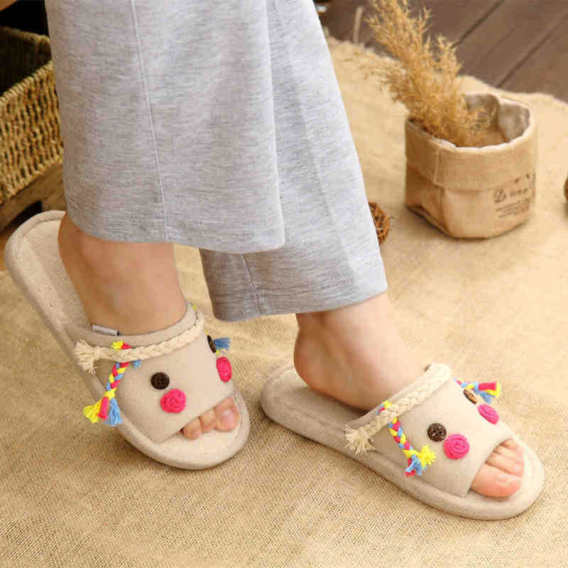 Women-font-b-Slippers-b-font-Spring-font-b-Color-b-font-Creative-Cute-Hemp-Linen Funky Slippers For Girls-These 30 Coolest Slippers you Must Try