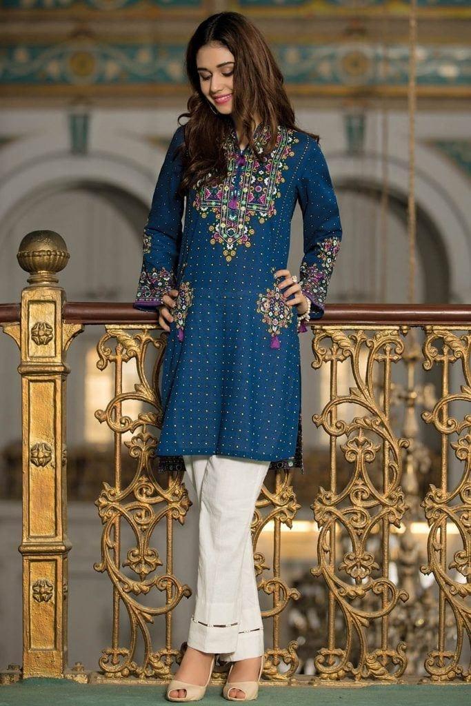Kyseria-Blue-style-Kurti-683x1024 Winter Kurtis Designs – 18 Latest Kurti Styles for Women