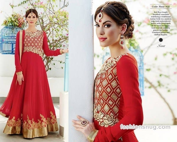 Latest-Indian-Long-Bridal-Frocks-Designs-2014-3 Latest Frock Designs-20 New Frock Styles Collection for Women 2019