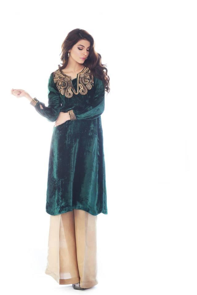 Velvet-Embrodaried-Formal-Wear Winter Kurtis Designs – 18 Latest Kurti Styles for Women