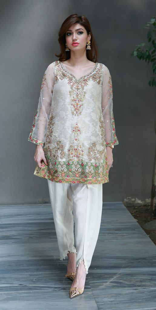 White-Tulip-Pant-with-short-shirt-515x1024 Latest Shalwar Kameez Designs for Girls-15 New Styles to try
