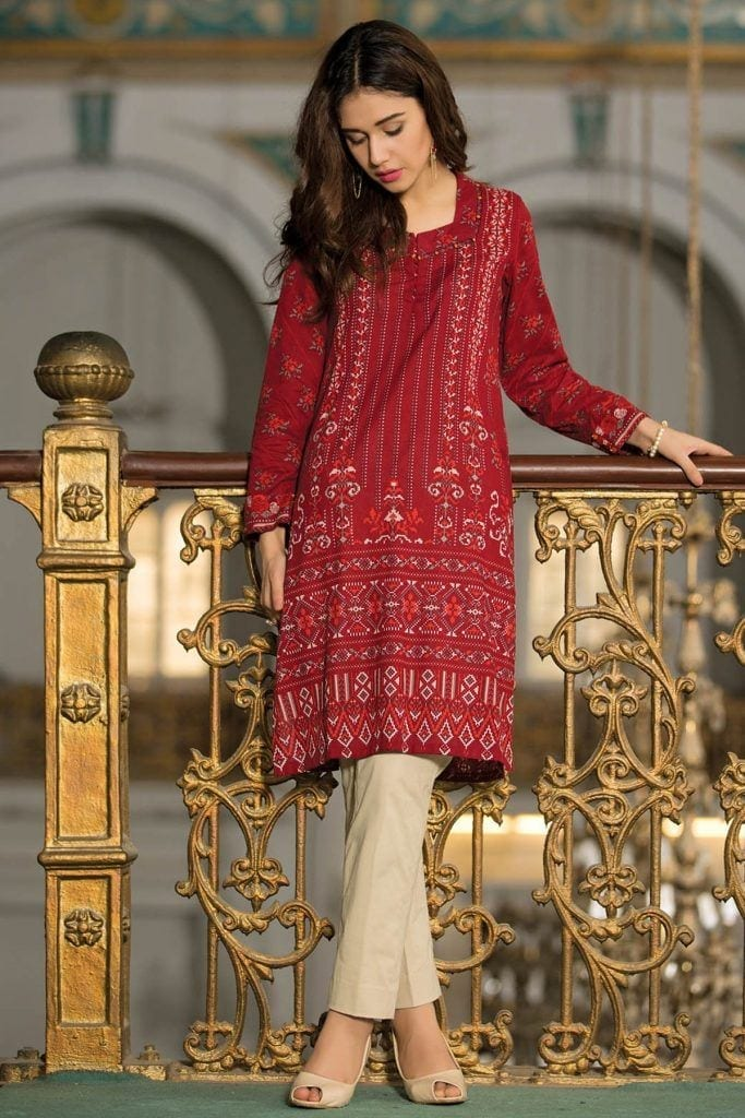 crimson-red-embroidried-683x1024 Winter Kurtis Designs – 18 Latest Kurti Styles for Women