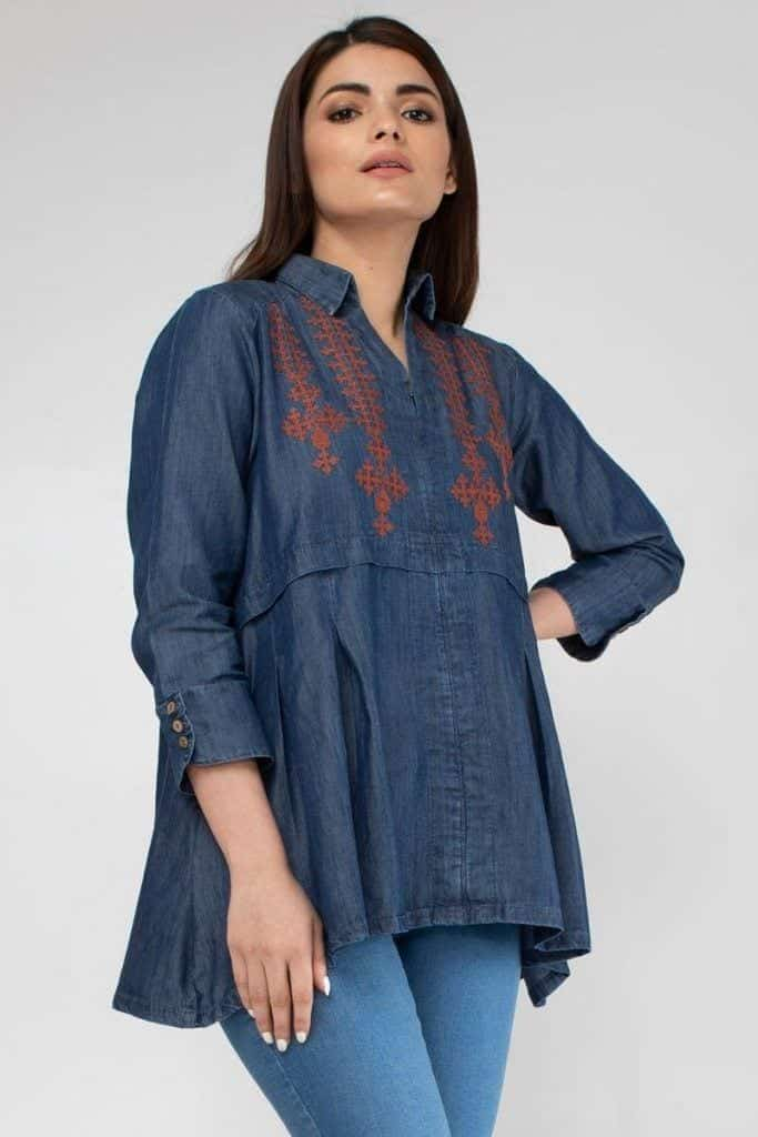 denim-kurti-winters-683x1024 Winter Kurtis Designs – 18 Latest Kurti Styles for Women