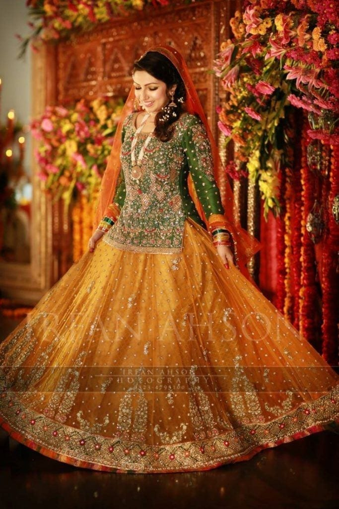 Lehenga-for-mehndi-function-683x1024 2017 Ghagracholi Designs-20 Latest Lehngacholi Styles These Days