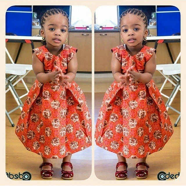 cool-western-orange-frock African Dress Styles for Kids-19 Cute African Attire for Babies