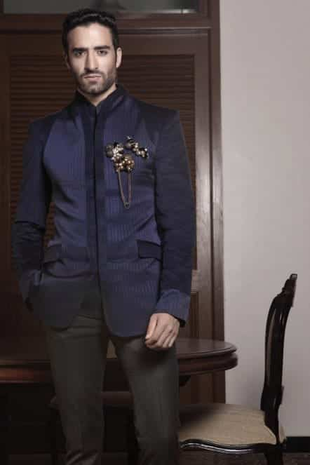 designer-navy-blue-jacket-dress-outfit-nevidata-jaago Engagement Outfits for Indian Men-20 Latest Ideas what to Wear on Engagement