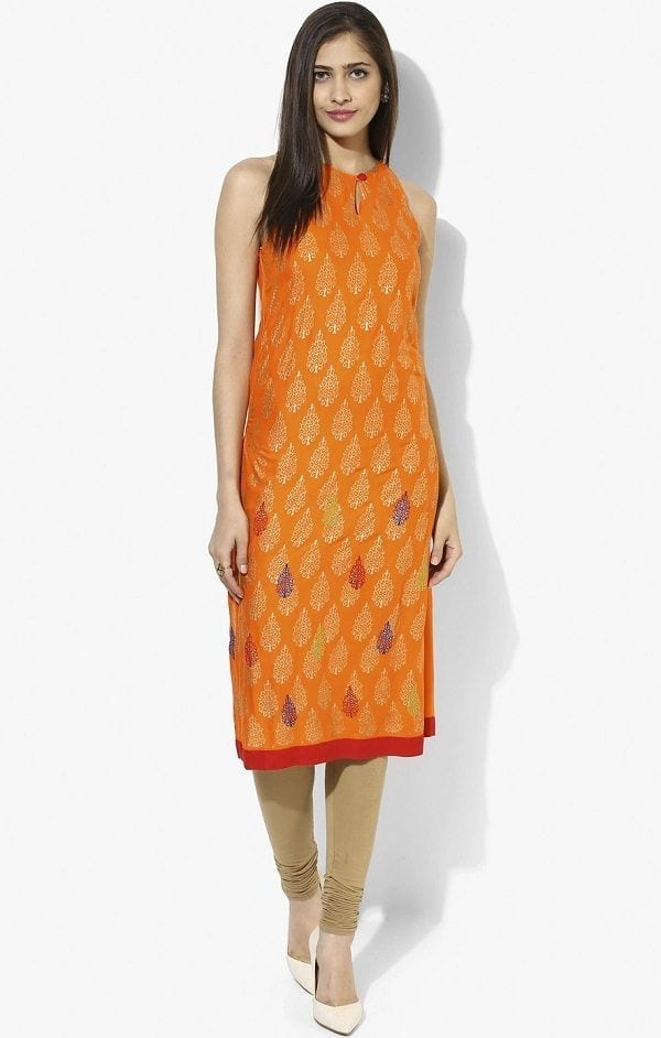divina-orange-raglan-neckline-kurta Kurti Neck Designs–23 Latest Kurti neck styles 2018