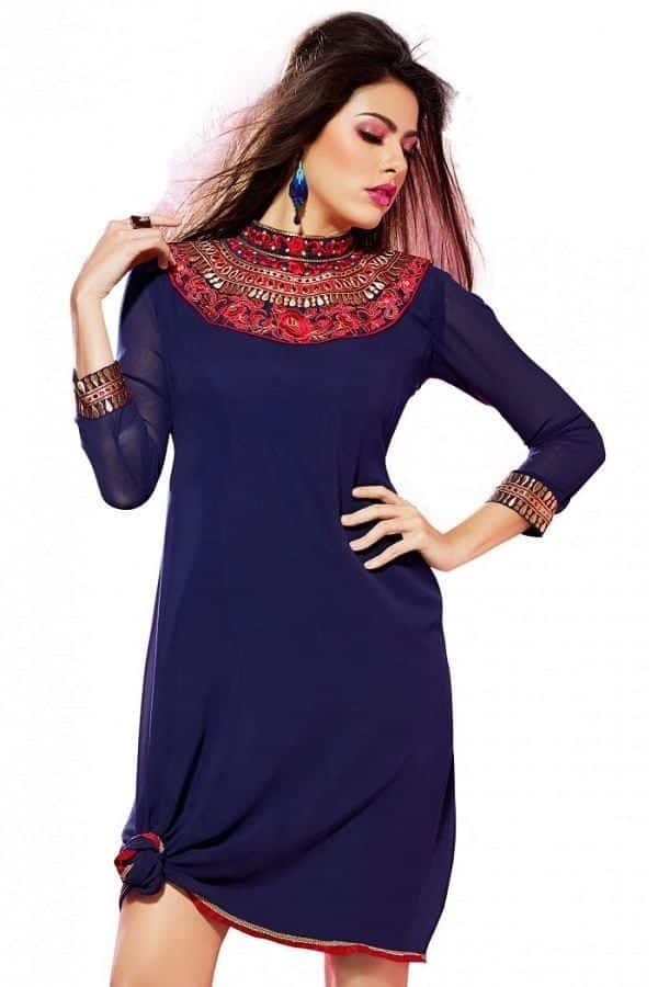 jeweled-neckline Kurti Neck Designs–23 Latest Kurti neck styles 2019