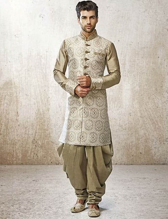 sherwani-with-patiala-shalwar Engagement Outfits for Indian Men-20 Latest Ideas what to Wear on Engagement