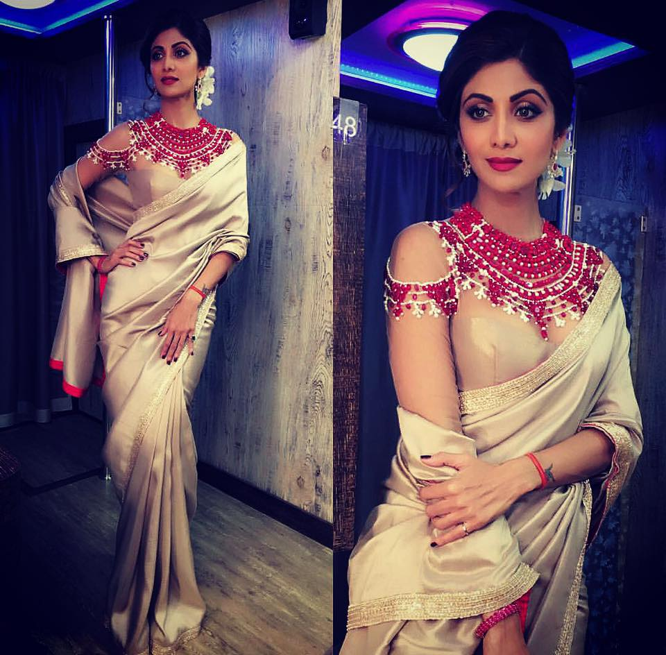 shilpa-shetty-wearing-manish-malhotra-saree Latest Manish Malhotra Sarees 2017 Collection-Top 28 Sarees by Manish