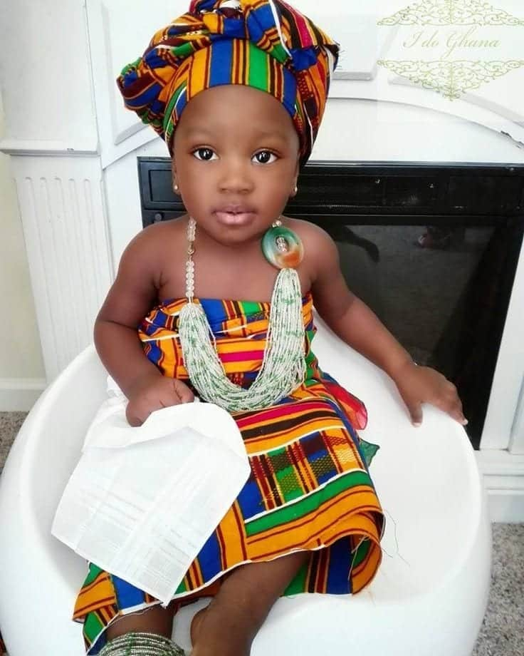 vintage-african-dress-with-head-cover African Dress Styles for Kids-19 Cute African Attire for Babies