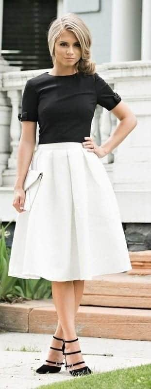black-t-white-medi-skirt Church Outfits Ideas for Teenagers-17 Ways to Dress for Church
