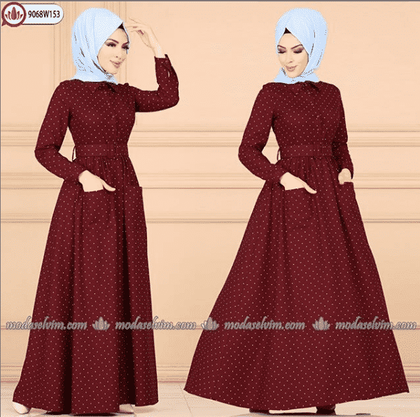 polka-dots-dress 2019 Abaya Designs - 26 New Abaya Styles for Stylish Look