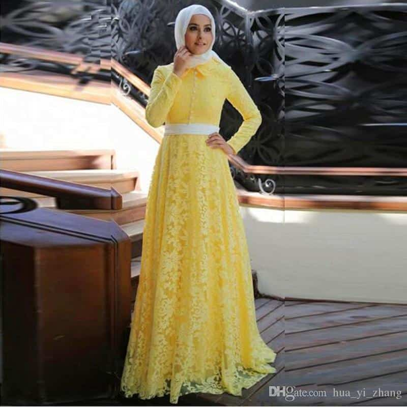 2017-elegant-yellow-lace-muslim-evening-dress 21 Prom Outfit Ideas with Hijab - How to Wear Hijab for Prom