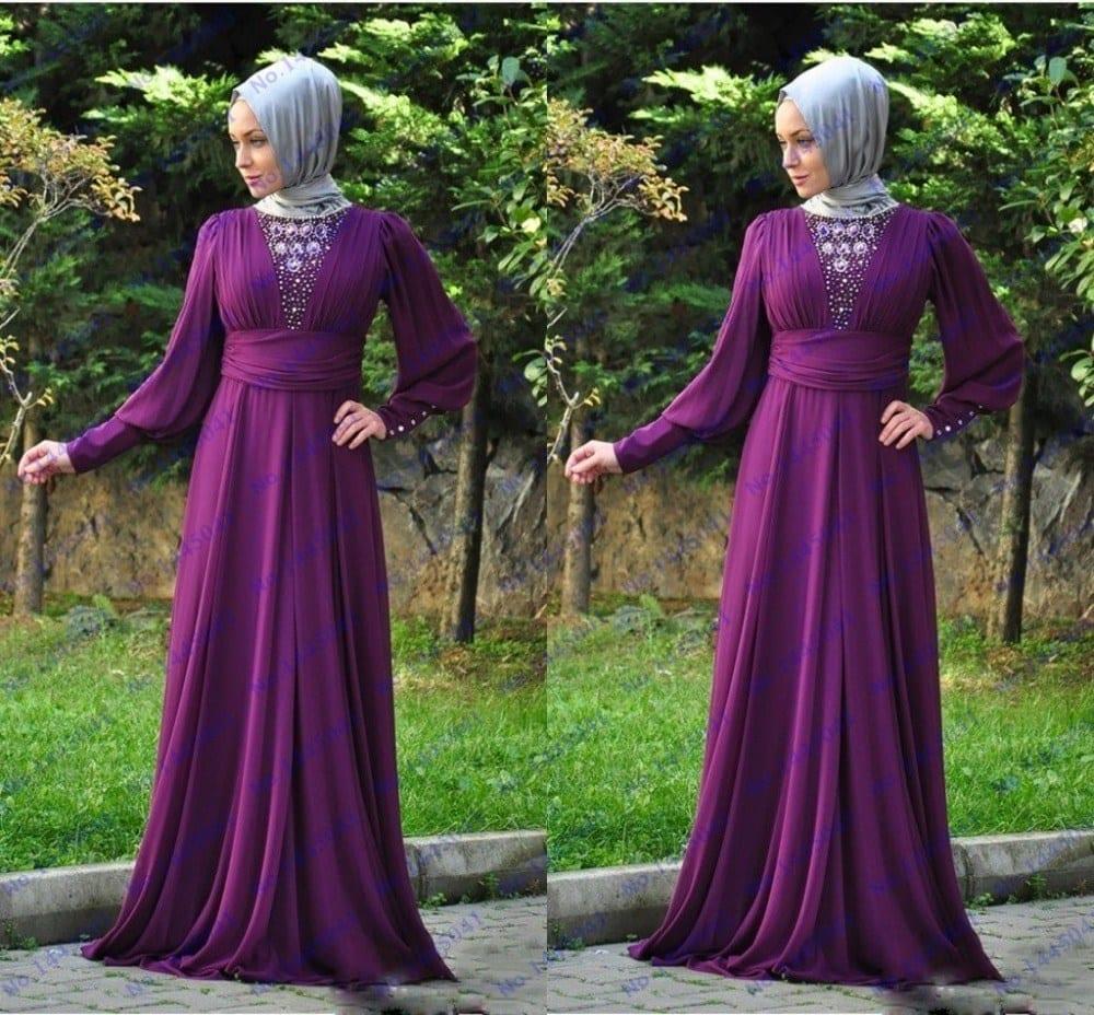 cheap-long-purple-prom-dresses-long-sleeve-beaded-dubai-kaftan-abaya-dress-with-veils-hijab-muslim 21 Prom Outfit Ideas with Hijab - How to Wear Hijab for Prom