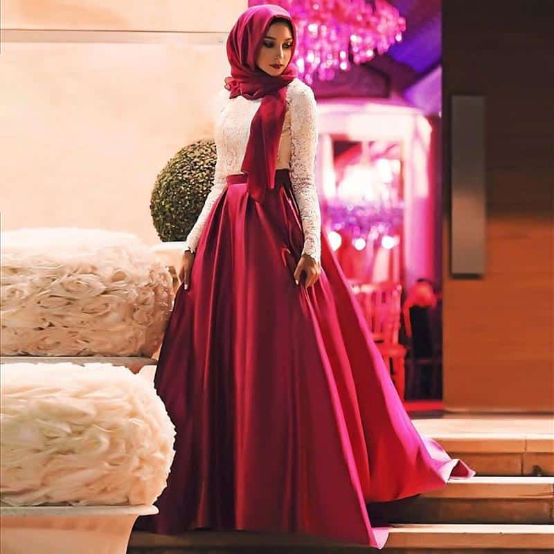 white-red-muslim-prom-dresses-2016-fashion 21 Prom Outfit Ideas with Hijab - How to Wear Hijab for Prom