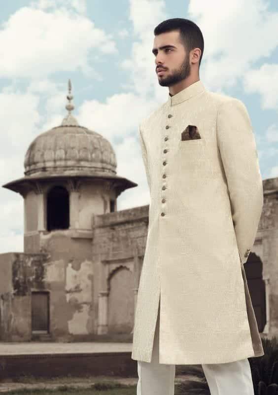 Charming-Beige-Sherwani Wedding Sherwani Outfits - 20 Best Sherwani Ideas for Grooms