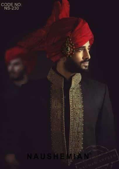 Classic-Black-and-Gold-Sherwani Wedding Sherwani Outfits - 20 Best Sherwani Ideas for Grooms