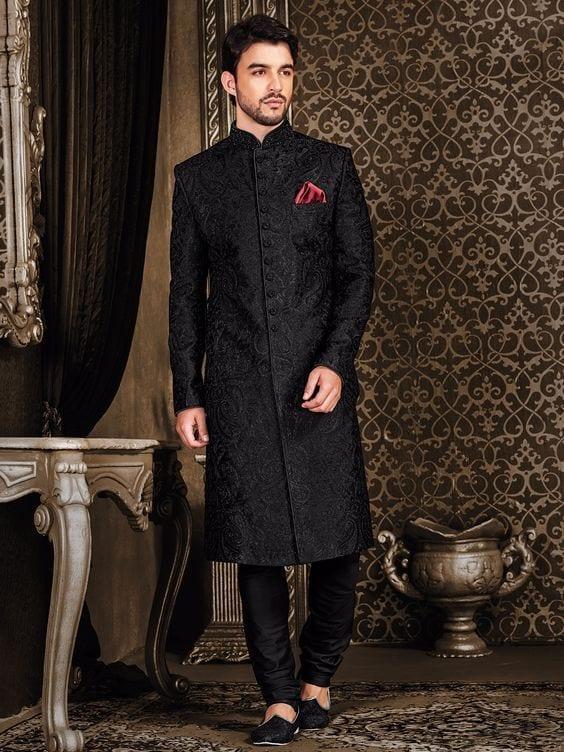 Jet-Black-Sherwani Wedding Sherwani Outfits - 20 Best Sherwani Ideas for Grooms
