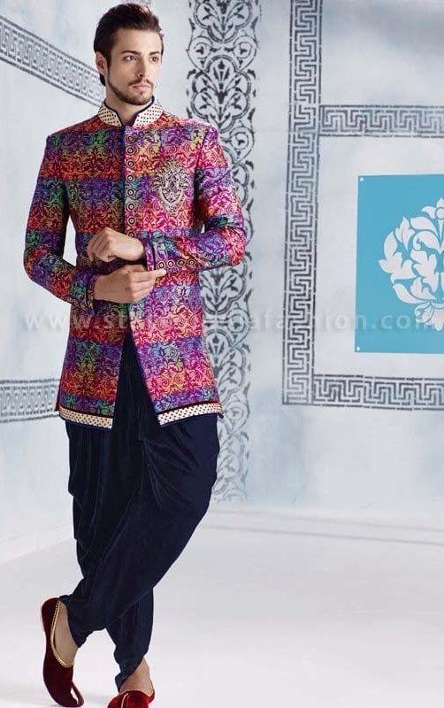 Multi-Color-Short-Sherwani Wedding Sherwani Outfits - 20 Best Sherwani Ideas for Grooms