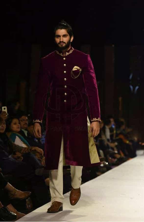 Plum-Sherwani-with-Beige-Trousers Wedding Sherwani Outfits - 20 Best Sherwani Ideas for Grooms