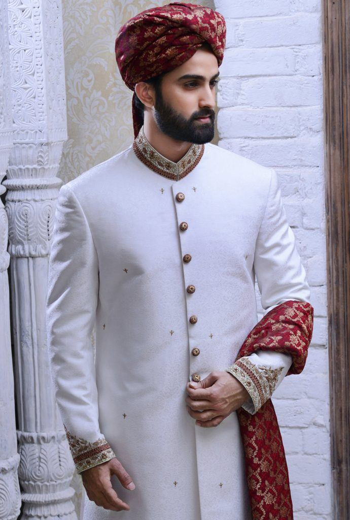 Traditional-White-Sherwani Wedding Sherwani Outfits - 20 Best Sherwani Ideas for Grooms