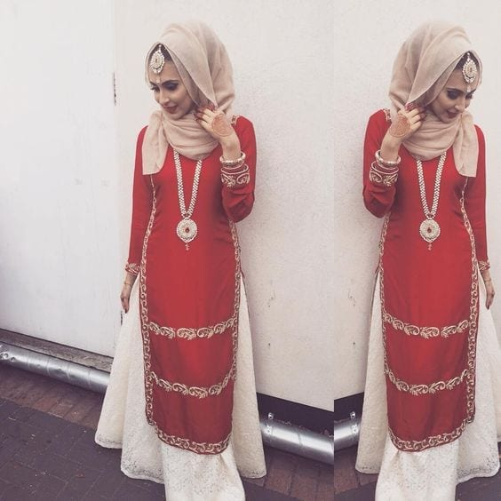 14-Hijab-with-Sharara 30 Ways to Wear Hijab with Indian Ethnic Wear