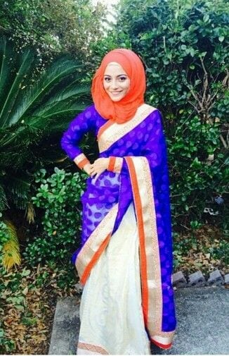 17-Hijab-with-Banarsi-Sari 30 Ways to Wear Hijab with Indian Ethnic Wear