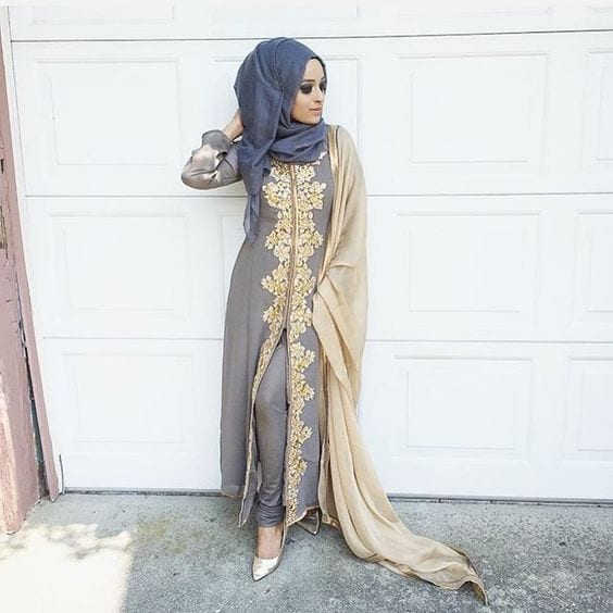 2-Hijab-with-graceful-grey-1 30 Ways to Wear Hijab with Indian Ethnic Wear