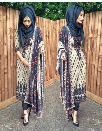 20-Hijab-with-printed-suit 30 Ways to Wear Hijab with Indian Ethnic Wear