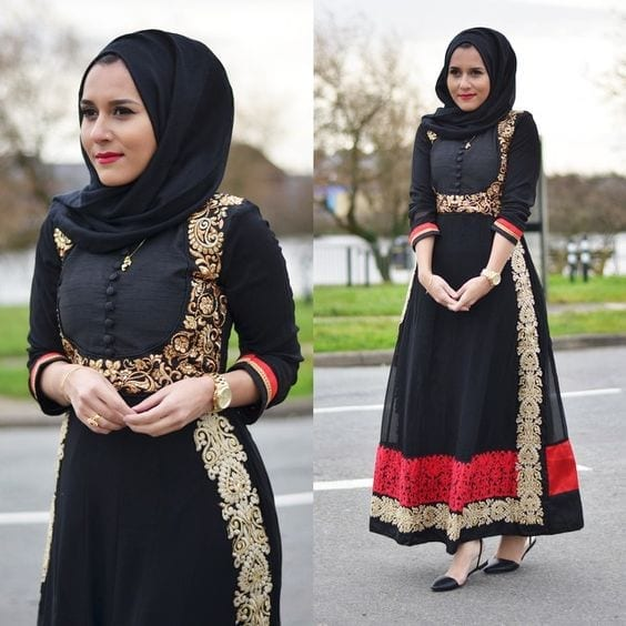 23-Hijab-with-indian-anarkaldi-dress 30 Ways to Wear Hijab with Indian Ethnic Wear
