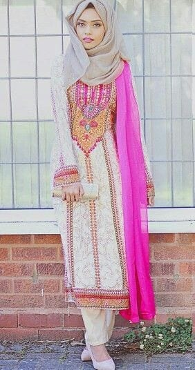 25-Hijab-with-Simple-Shalwar-Kamiz 30 Ways to Wear Hijab with Indian Ethnic Wear