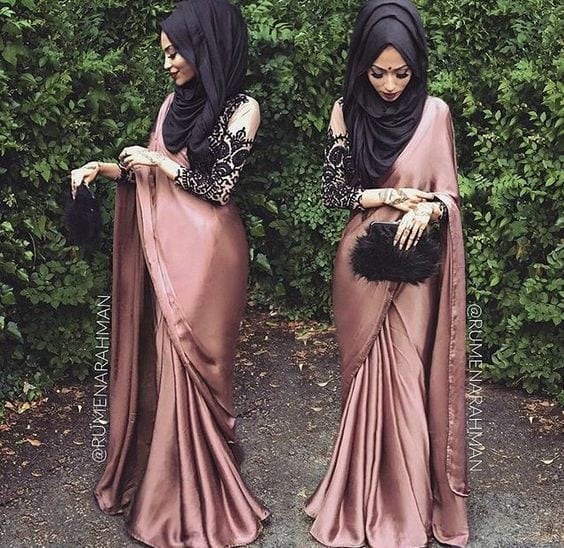 28-Hijab-with-silk-Saree 30 Ways to Wear Hijab with Indian Ethnic Wear