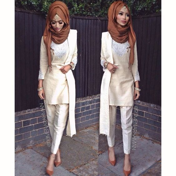 4-Hijab-with-off-white-outfit 30 Ways to Wear Hijab with Indian Ethnic Wear