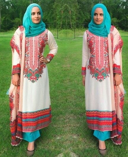 7-Hijab-with-matching-trousers 30 Ways to Wear Hijab with Indian Ethnic Wear