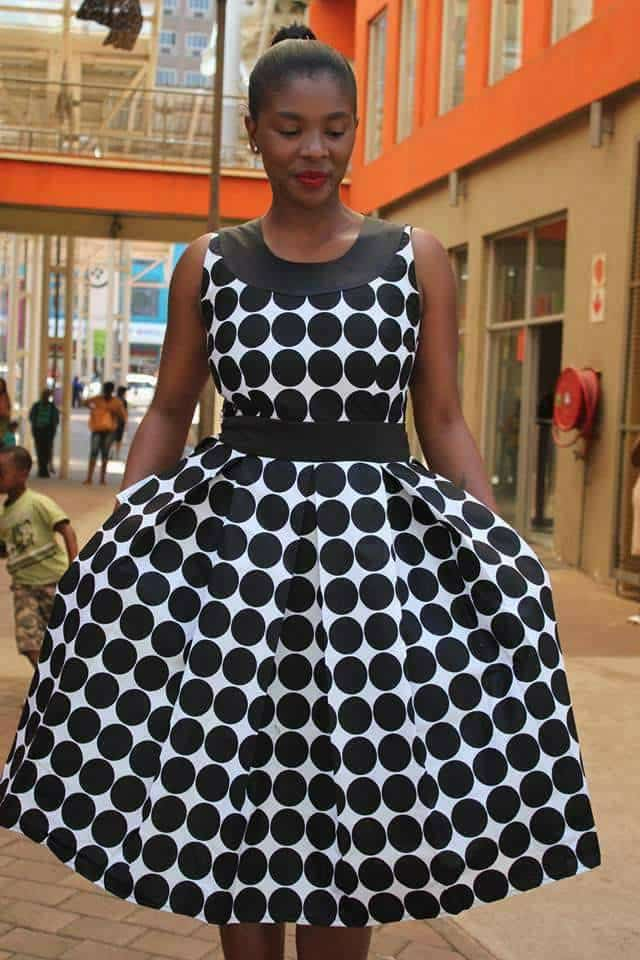 Black-and-White-Dotted-Frock Bow Afrika Clothes- Top 30 Chic Bow Afrika Outfits for Women