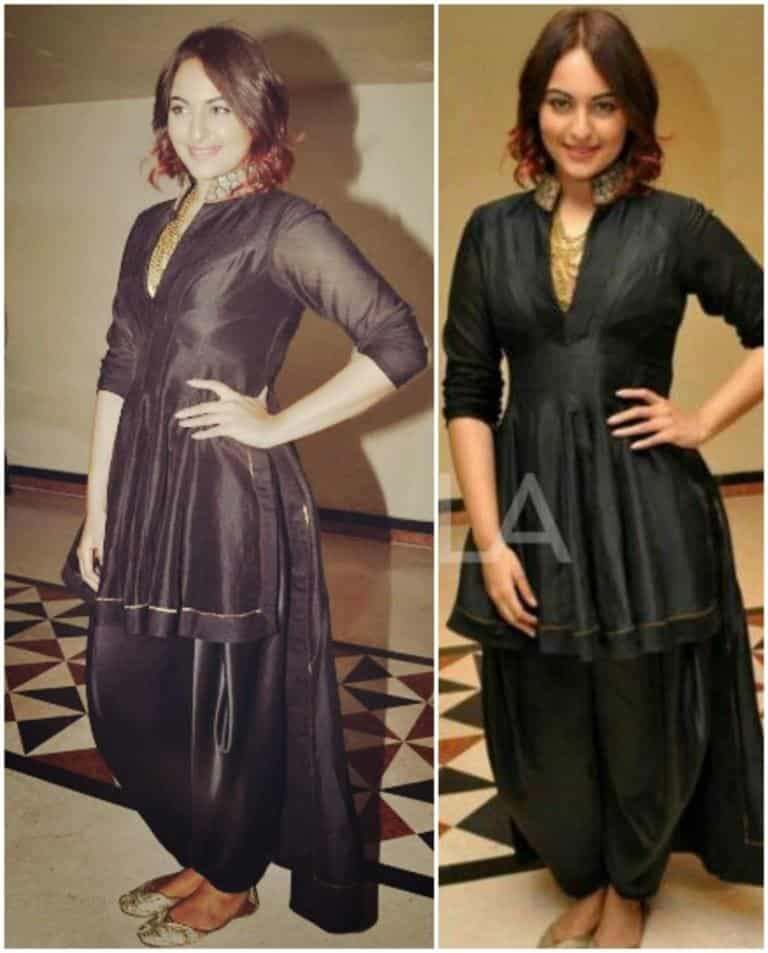 Classy-Patiala-Outfit-Worn-by-Sonakshi-Sinha Classy Patiala Outfits-30 Amazing Ways to Wear Patiala Salwar