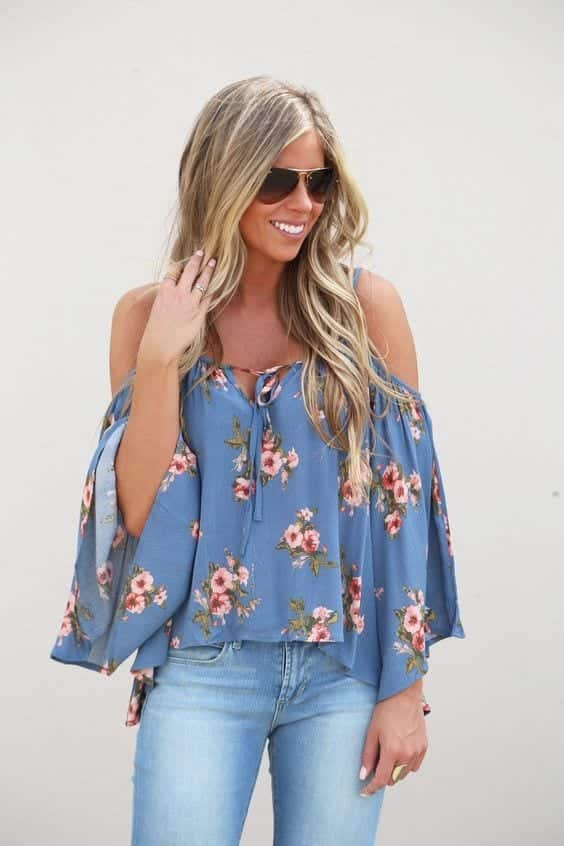 Floral-Cold-Shoulder-Top Funky Festival Outfits - 30 Funky Outfits for Girls to Wear