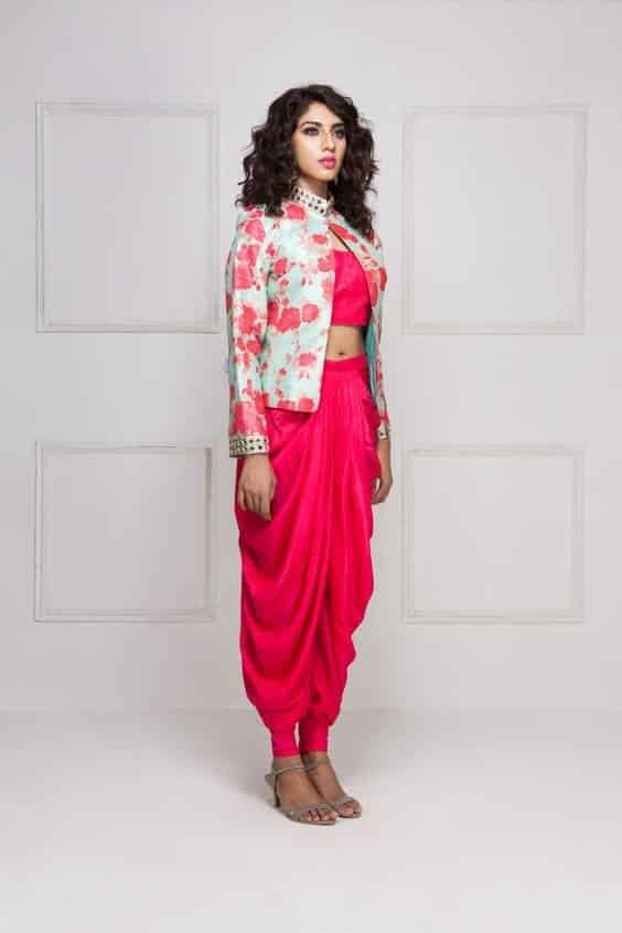 Patiala-Shalwar-with-Floral-Blazer Classy Patiala Outfits-30 Amazing Ways to Wear Patiala Salwar