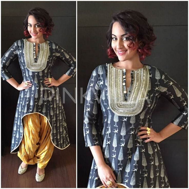 Patiala-Shalwar-with-Short-Gown Classy Patiala Outfits-34 Amazing Ways to Wear Patiala Salwar