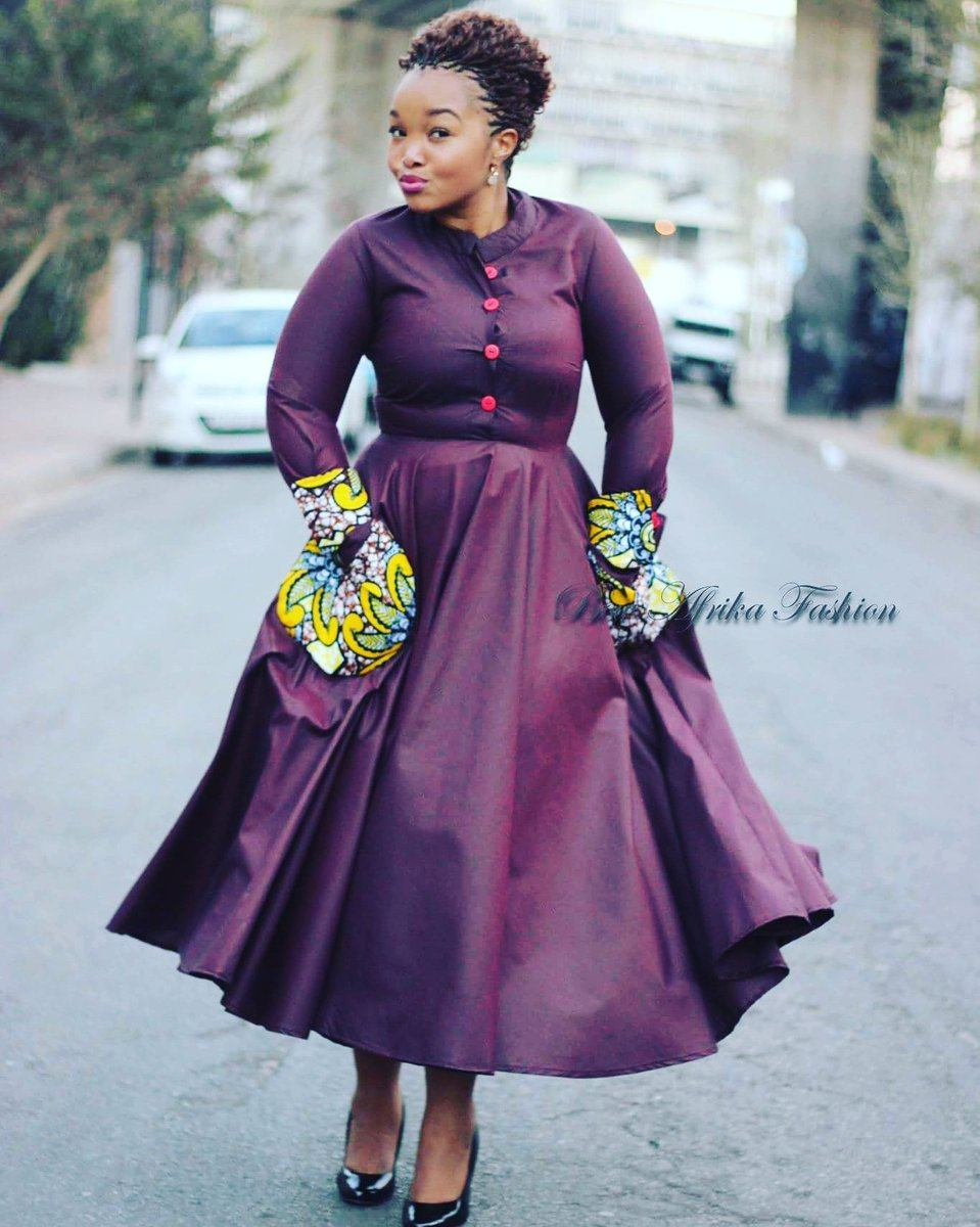 Plum-Bow-African-Frock-for-Curvy-Women Bow Afrika Clothes- Top 30 Chic Bow Afrika Outfits for Women