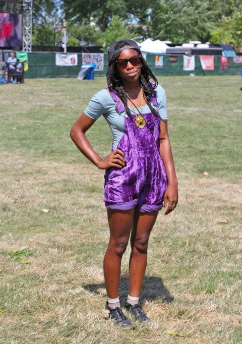 Striking-Purple-Dungaree Funky Festival Outfits - 30 Funky Outfits for Girls to Wear