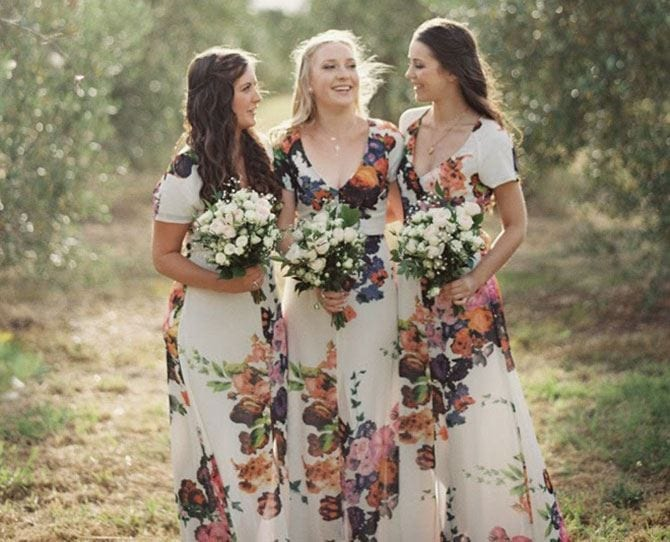 Floral-Funky-Gowns-for-Bridesmaids Funky Outfits for Wedding-30 Funky Styles for Wedding Guests