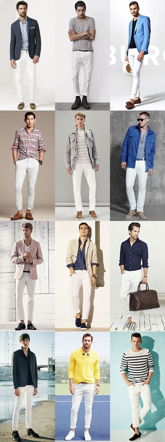 Funky-Pair-Ups-with-White-Jeans 30 Funky Outfits for Guys Trending These Days