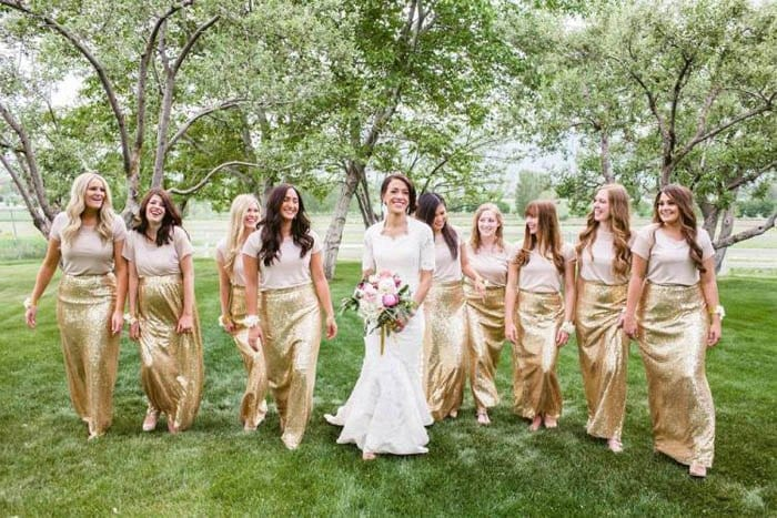 Glittery-Bridesmaid-Outfit Funky Outfits for Wedding-30 Funky Styles for Wedding Guests
