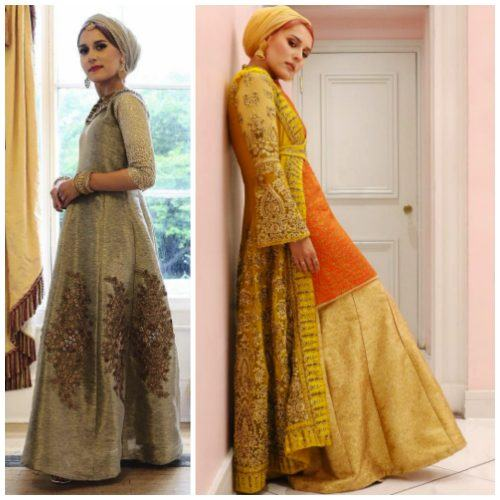 floral-gowns-with-hijab-500x500 Hijab with Floral Outfits-20 Ways to Wear Hijab with Florals