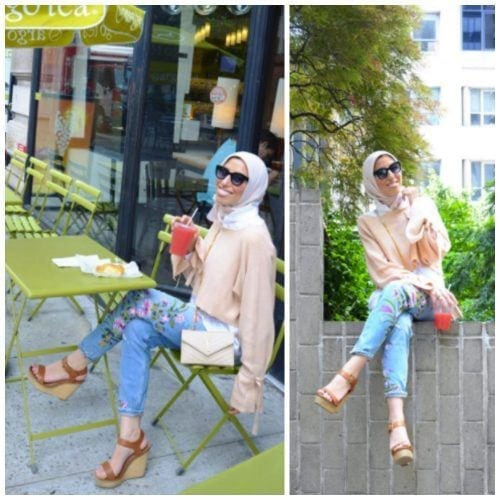 floral-jeans-with-hijab-500x500 Hijab with Floral Outfits-20 Ways to Wear Hijab with Florals