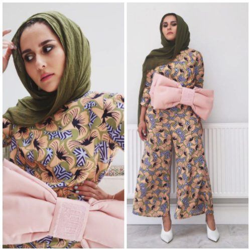 floral-jumpsuit-with-hijab-500x500 Hijab with Floral Outfits-20 Ways to Wear Hijab with Florals